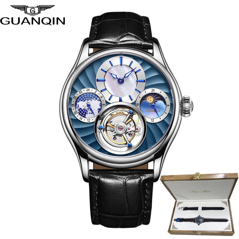 Relógio Turbilhão GUANQIN originais 2019 NOVO relógio homens mecânicos Safira à prova d' água de couro top marca de luxo Relogio masculino