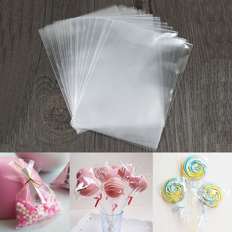 100pcs Clear Transparent Plastic Bags For Candy Lollipop Cookie Packing Candy Food Bag Wedding Party Favor Opp Gift Bag