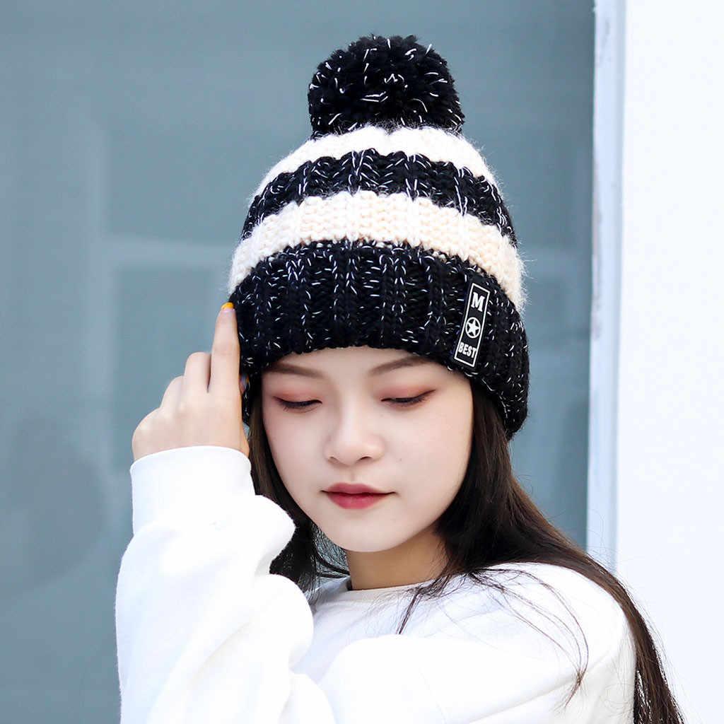 ผู้หญิงฤดูหนาวหมวกถัก Beanies หมวกธรรมชาติขนสัตว์ PomPom หมวก Solid หมวกหญิง Causal WARM หนาหมวก # p3