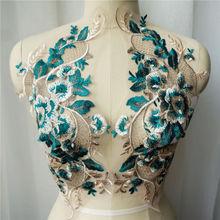 2 sztuk zielony koronki tkaniny haftowane kwiat suknia aplikacje wykończenia klasyczny kołnierz siatki szyć łaty do dekoracji ślubnych DIY tanie tanio 18cm x 40cm HB139K1 Plastry Naszywane HANDMADE Ekologiczne