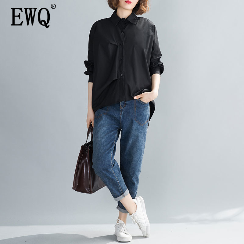 [EWQ] 2020 Spring Summer New Pattern Lapel Long Sleeve Solid Patchwork Single Breasted Casual Shirt Women Fashion Tide AK56801