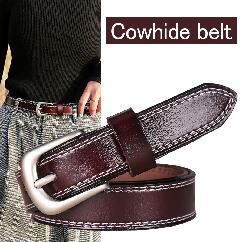 DINISITON belt women trendy genuine leather belts for woman luxury High Quality Brand Casual Strap Fancy Vintage for Jeans