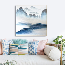 Laeacco Canvas Painting Calligraphy Chinese Mountain Landscape Posters and Prints Wall Art Picture for Living Room Bedroom Decor