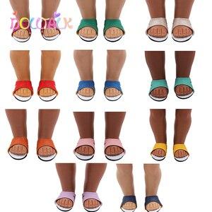 Летняя кукольная обувь без шнуровки, 11 видов стилей, искусственная кожа, кожаная кукла, сандалии для 18 дюймов, американские и возрожденные к...