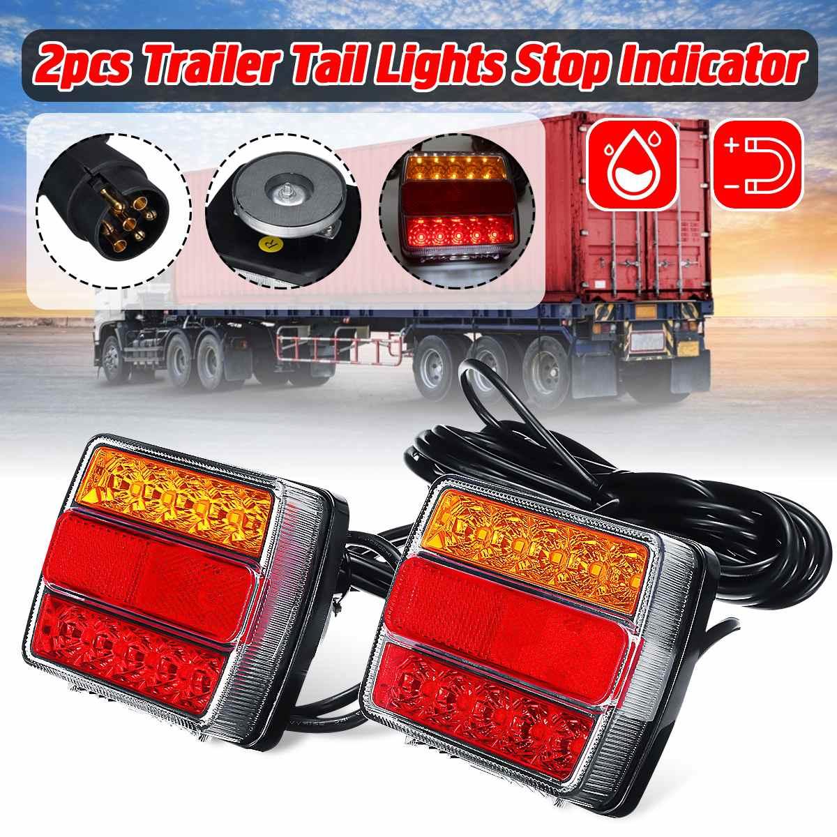 Par de lanternas de led magnéticas para caminhão, 12 v luz traseira da placa de aviso, sinal de lâmpada de freio para caravanas e caminhões barco atv