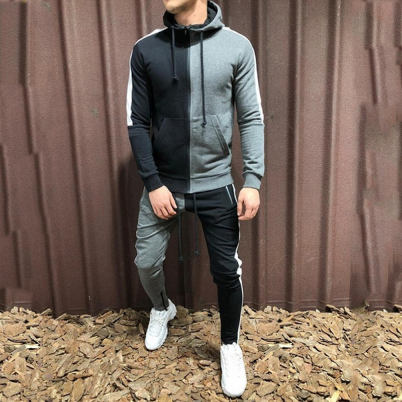 New Men Sets Fashion Autumn Spring Sporting Suit Sweatshirt Sweatpants Mens Clothing 2 Pieces Sets Slim Tracksuit