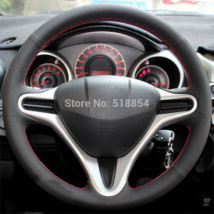 Image 3 - Black Artificial Leather Car Steering Wheel Cover for Honda Civic Old Civic 2006 2011