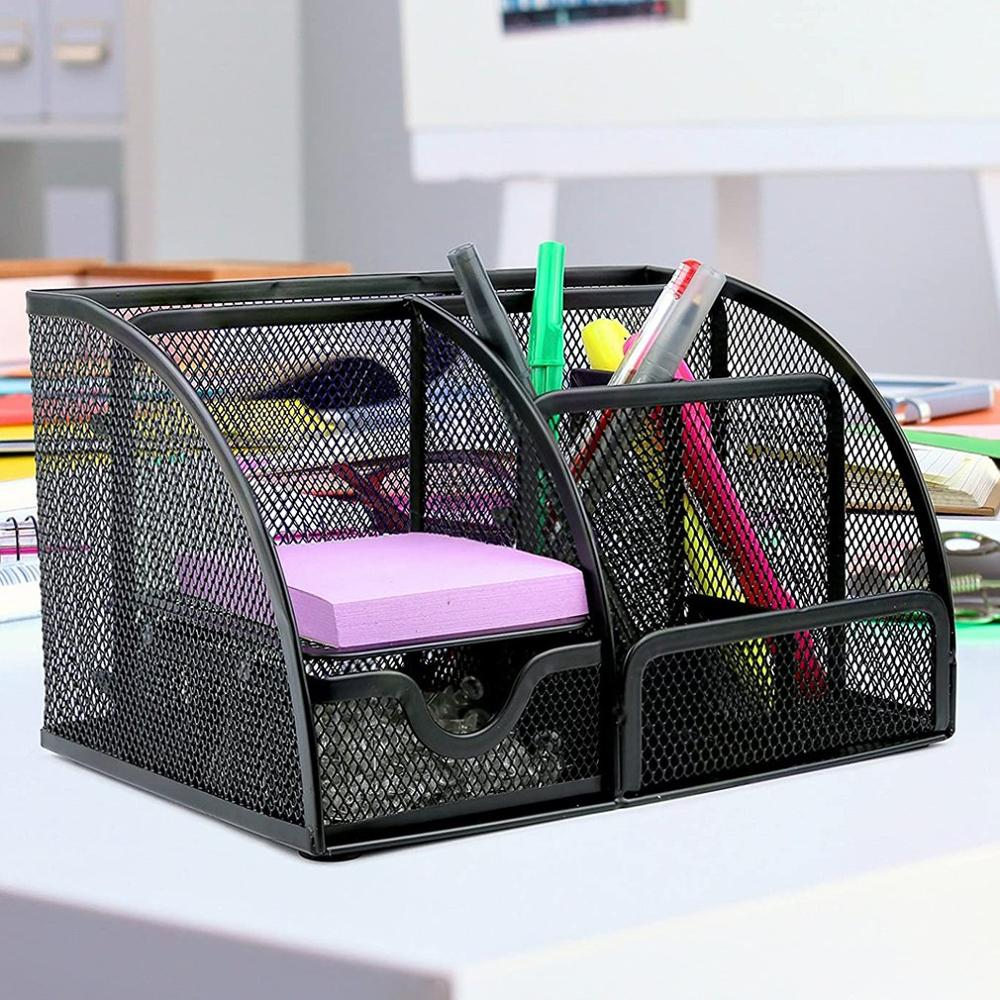 Metal Large Capacity Desk Pen Holder  For School Office Stationery Pencil Makeup Storage Box Desktop Organizer Stand Case