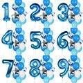 12 шт., воздушные шары на день рождения для мальчиков, синие латексные конфетти, баллон с цифрами 40 дюймов, воздушные шары для детей 1, 2, 3, 4, 5, 6, 7...