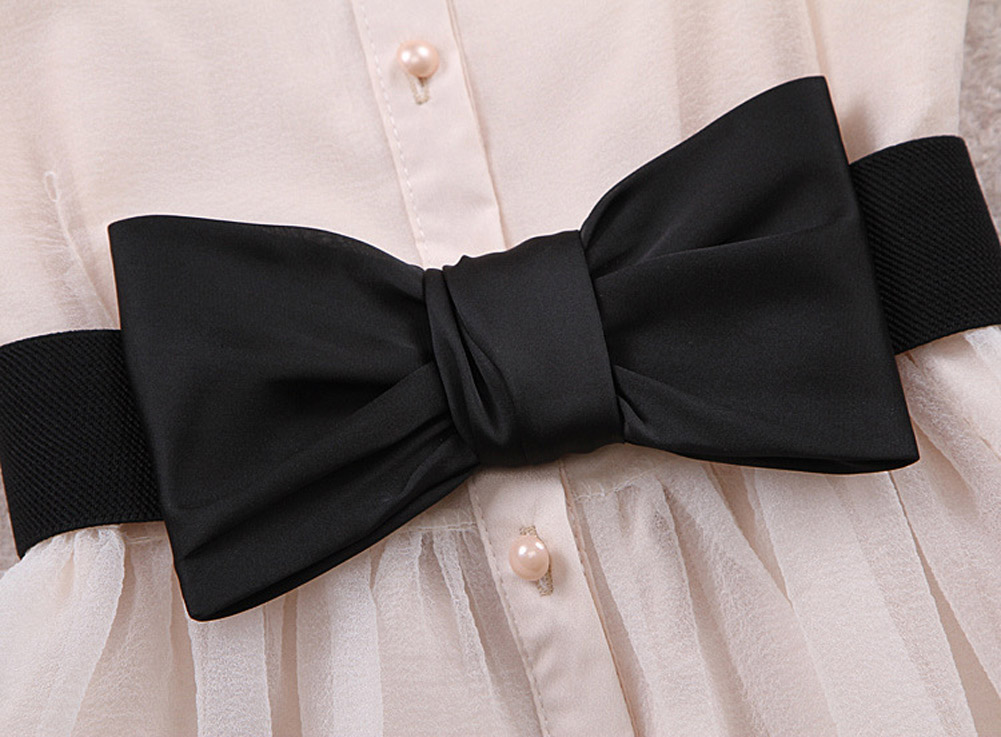 Womens Chiffon Bowknot Elastic Bow Wide Stretch Bukle Waistband Waist Belt NIN668
