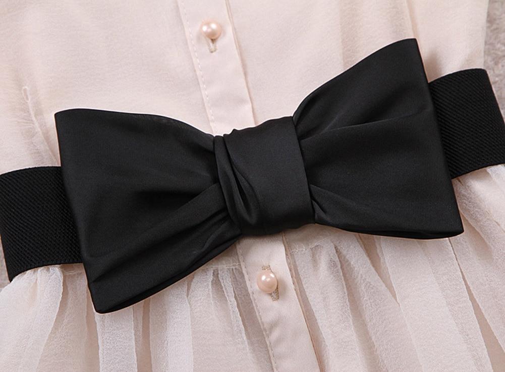 Womens Chiffon Bowknot Elastic Bow Wide Stretch Bukle Waistband Waist Belt NIN668