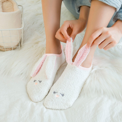 Floor Socks With Shallow Mouth, Thickened , Plush Warmth, Japanese Three-dimensional Cartoon, Lovely Antiskid Ship Socks, Female