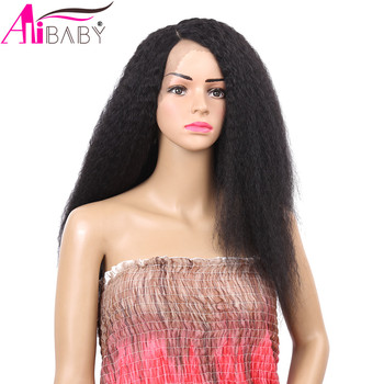 24inch Kinky Straight Yaki 150% Density Brazilian Synthetic Lace Front Wig Fluffy Hair Wigs For Black Women Alibaby - discount item  39% OFF Synthetic Hair