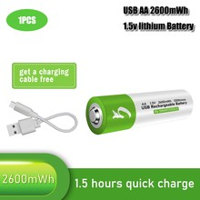 100% capacidade 1.5V AA 2600mwh li-polímero Bateria li-ion com bateria de lítio recarregável USB usb + cabo USB