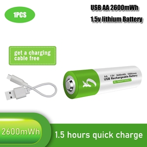 100% capacity 1.5V AA li-ion Battery 2600mwh li-polymer with USB rechargeable lithium usb battery + USB cable