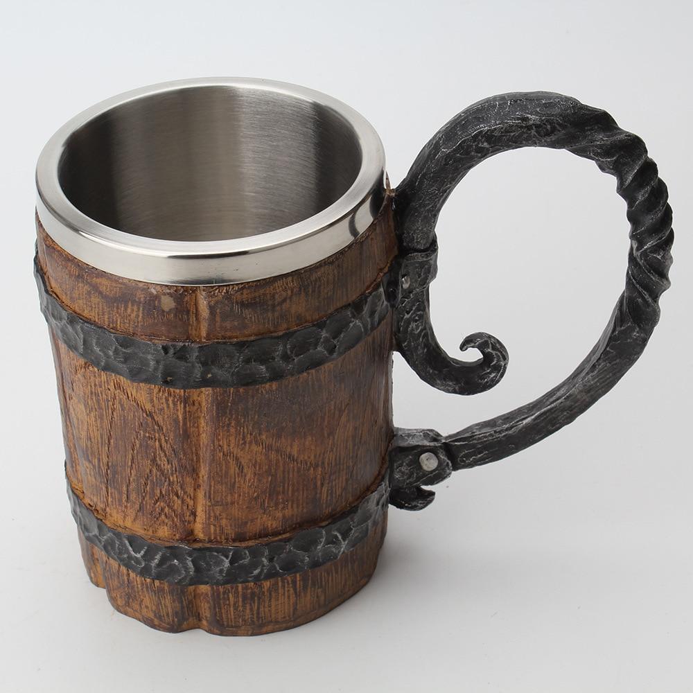 Wooden barrel Stainless Steel Resin 3D Beer Mug Goblet Game Tankard Coffee Cup Wine Glass Mugs 650ml BEST GOT Gift 3