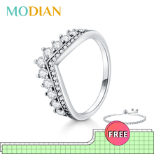 Modian Fashion 100 Real 925 Sterling Zircon Crown Finger Ring Classic Stackable Silver Jewelry For Women Wedding Christmas Gift cheap 925 Sterling Fine Pave Setting None Rings R2055 Wedding Bands