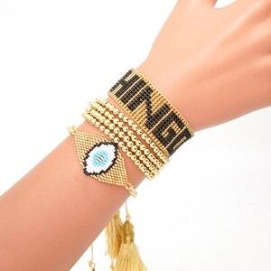 Image 3 - Go2boho Leopard Bracelet CHINGONA Power Pulseras Mujer Moda 2020 Heart Evil Eye MIYUKI Bracelet Jewelry FEMINISTA Women Handmade