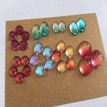 20 pièces nouveau verre Cabochon 12mm 14mm 16mm 18mm 20mm coloré goutte ronde ovale Cabochon réglage pour bricolage bijoux accessoires