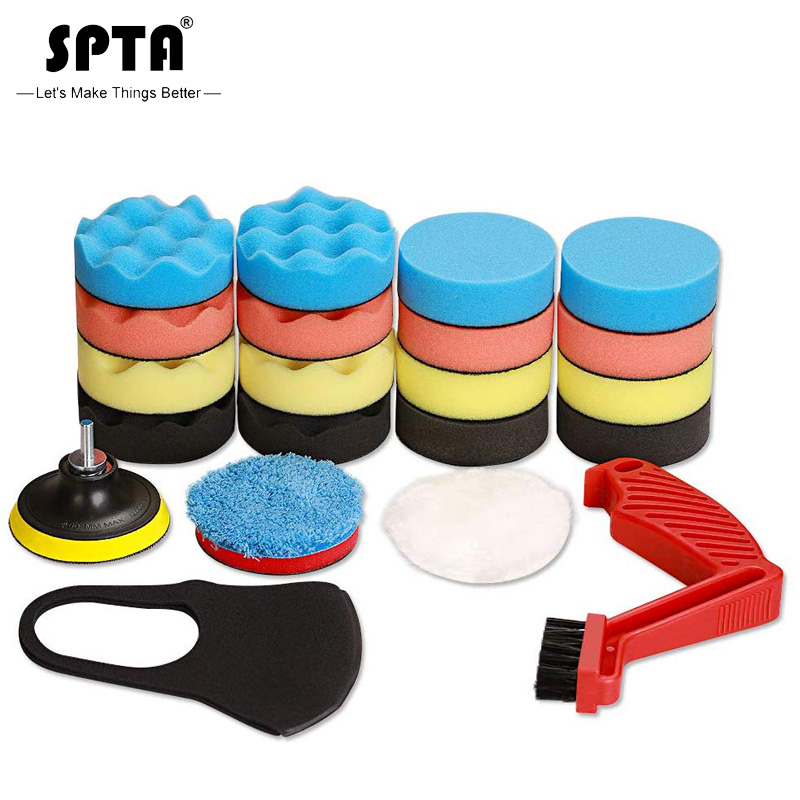 SPTA 22pcs Car Foam Drill Polishing Pad Kit,3inch Polishing Pads 16pcs Buffing Pads,Wool Pads,Multifunctional Cleaning Brush