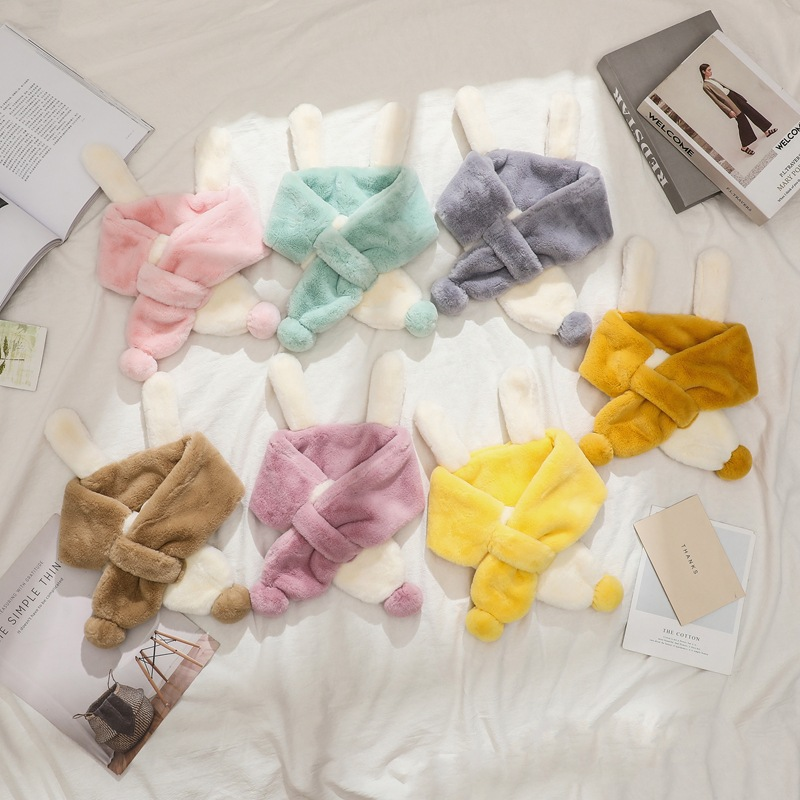 Autumn And Winter New Style Faux Lai Tu Hair CHILDREN'S Scarf Korean-style Thick Plush Cross BOY'S Girls Scarf Head Band Dual Pu