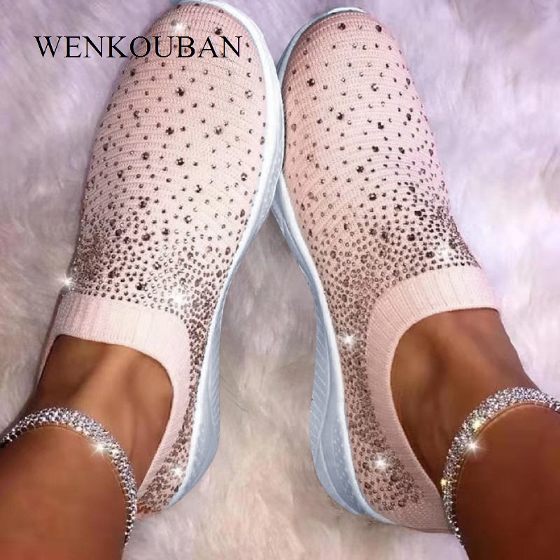 Women Sock Sneakers 2019 Fashion Bling Women Vulcanized Shoes Casual Ladies Slip On Loafers Shoes Female Trainers Tenis Feminino