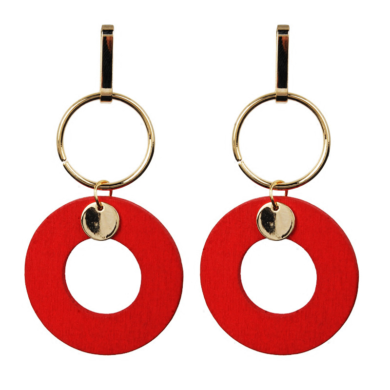 Купить с кэшбэком Alloy Big Hoop Earrings Red Oval Stud Long Round Bohemia Jewelry Women Trendy Multilayer Exaggerated Hollow Acrylic Ear Rings