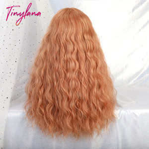 Image 5 - TINY LANA Long Loose Wave Synthetic Wigs Orange Pink Color With Bangs For America Women Heat Resistant Fibre Cosplay Lolita Hair