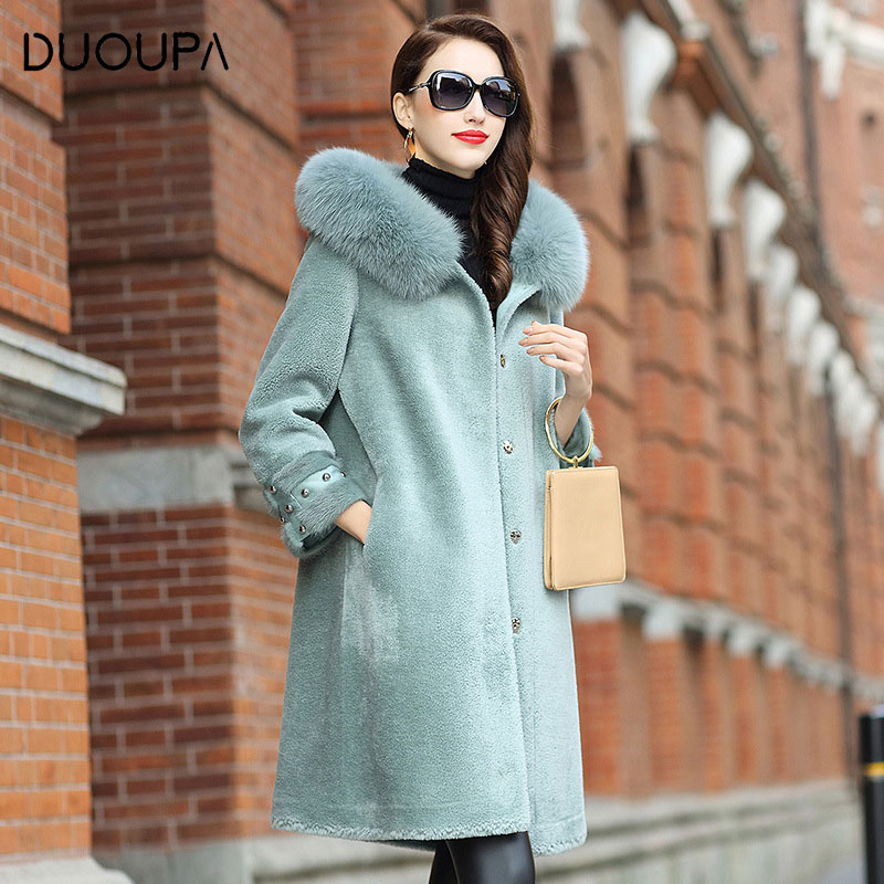 Wool Coat Jacket Sheep-Shear Hooded Fur Long-Fox-Fur Autumn Winte And Female New-Fashion