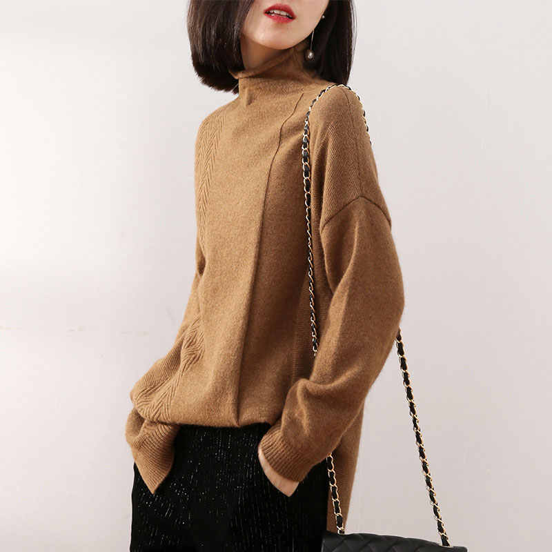 Cashmere sweater women's sweater women's high collar autumn and winter new knit sweater pullover loose long sweater thicken