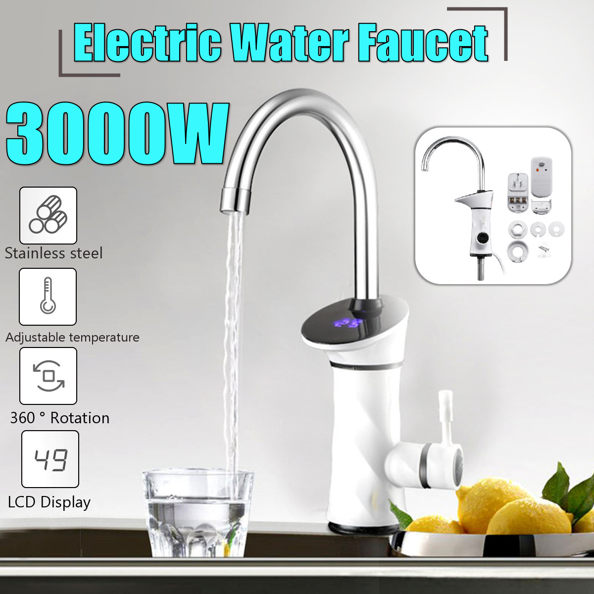 360 Degree Rotation 3000W Intelligent Automatic Instant Electric Water Heating Faucet Kitchen Water Heater Tap With LCD Display