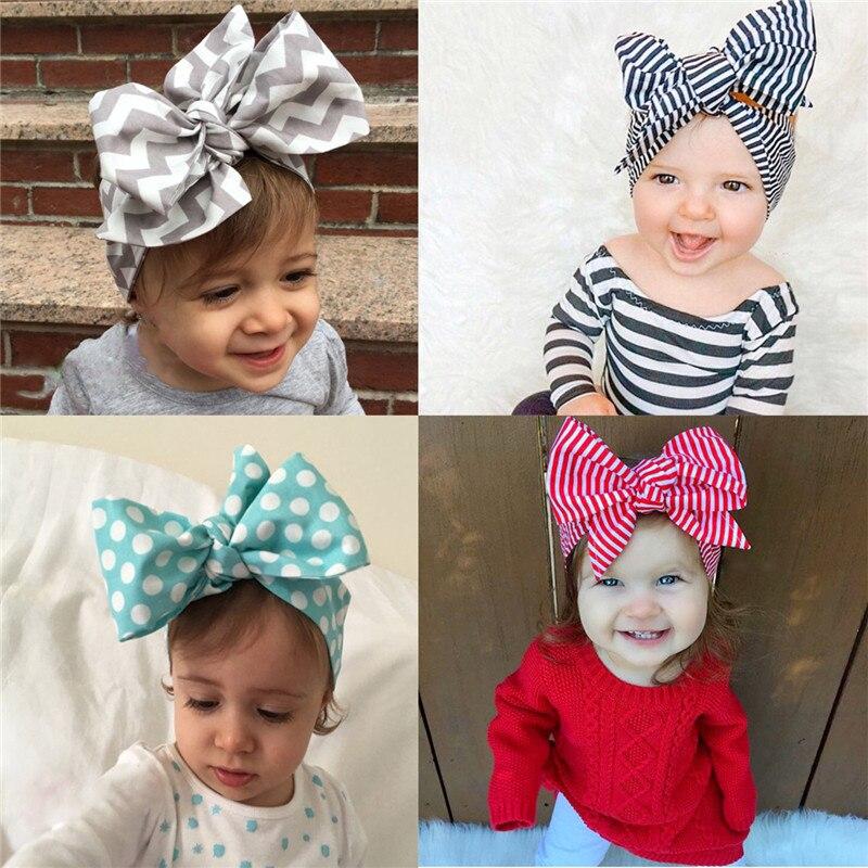 Новая мода, 5 цветов, большая повязка для волос DIY, Детская повязка для волос с бантом для маленьких девочек, детская полосатая хлопковая повя...