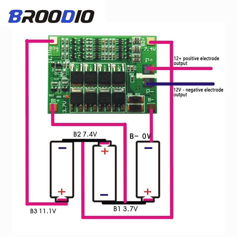 3S 40A BMS 11.1V 12.6V 18650 lithium battery protection Board with balanced Version for drill Motor