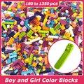 Pickwoo 180 zu 1350 Pcs Bausteine Junge und Mädchen Farbe Kleine Größe Stadt Diy Kreative Ziegel Groß Modell Figuren kinder Spielzeug