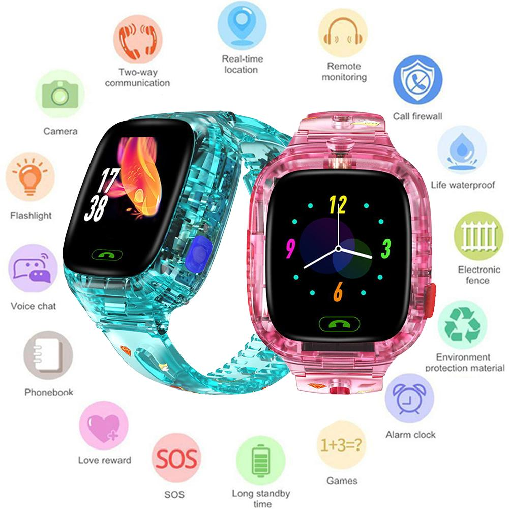 Children Smart Watch Sport Watch Y91 Transparent Waterproof WiFi GPS Positioning Call Take Picture Colorful For Kids Watch