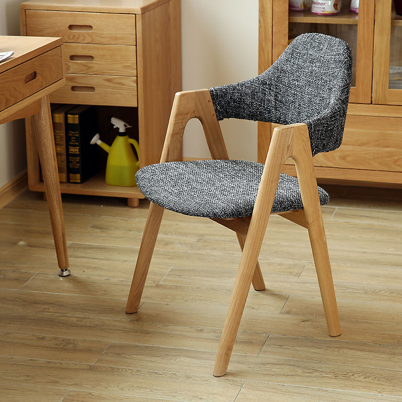 Feather Bai Hui Solid Wood Dining Chair Casual Armchair Coffee Shop Living Room Library Chair Conference Chair Northern European