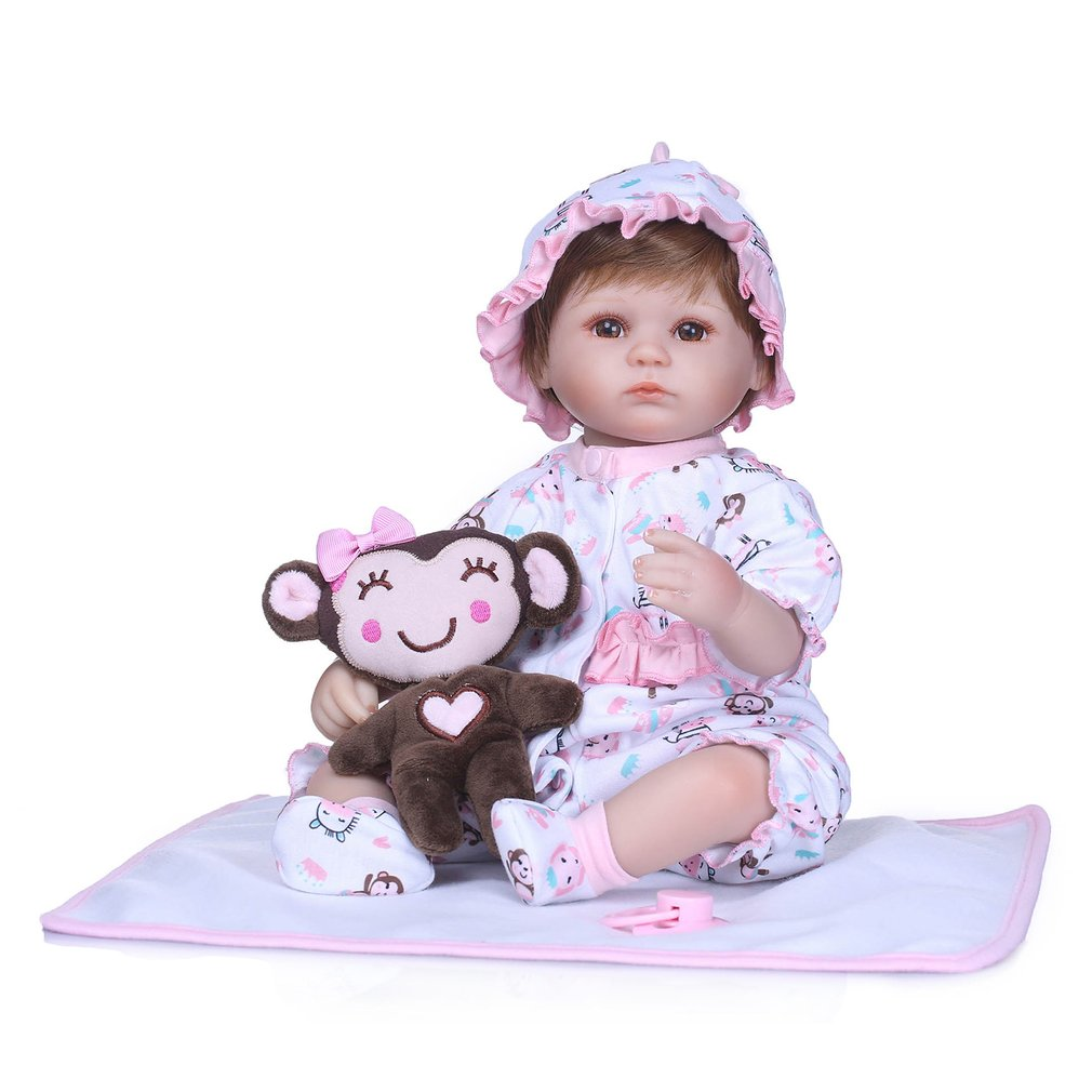 NPK 40cm Silicone Baby Doll Simulation Handmade Lovely Lifelike Realistic Toddler Hotborn Baby Doll Play Toys Non-toxic Gift Hot