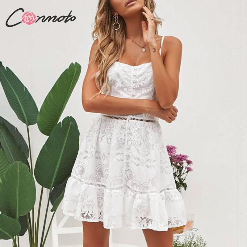 Conmoto <font><b>Sexy</b></font> <font><b>Lace</b></font> White <font><b>Party</b></font> <font><b>Dress</b></font> Women <font><b>Sexy</b></font> Feminino Short <font><b>Dress</b></font> Button <font><b>Female</b></font> Plus Size <font><b>Dresses</b></font> Robe Vestidos image