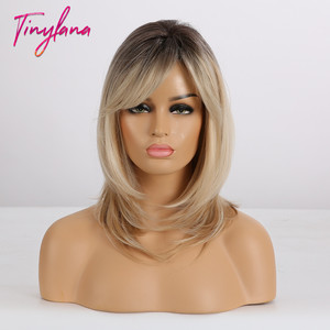 Image 3 - TINY LANA Shoulder Medium length hair ombre Brown blonde Mixed color Synthetic wig Straight With Bangs Heat Resistant for Women