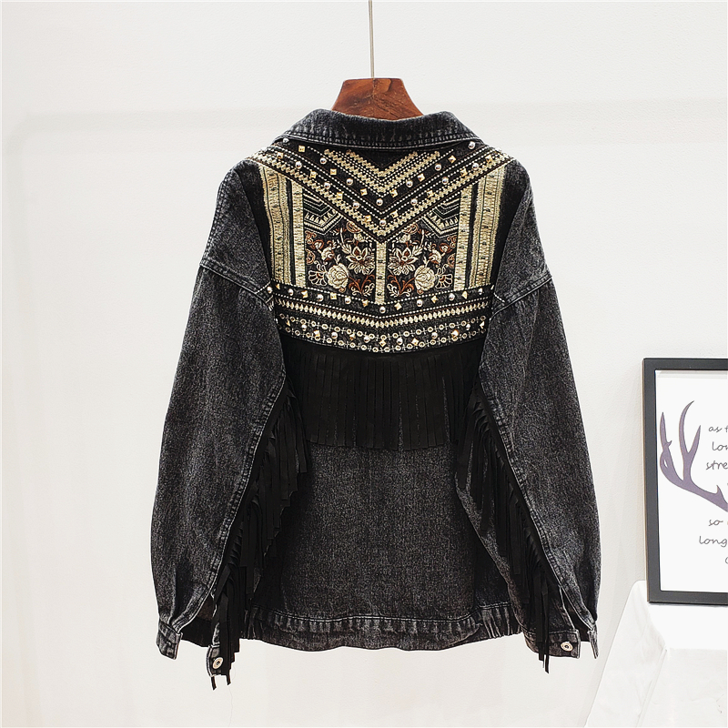 Korean Beading Embroidery Denim Jacket Women Elegant Tassel Patch Veste Femme Big Size Loose Chaquetas Mujer Jeans Jacket Female