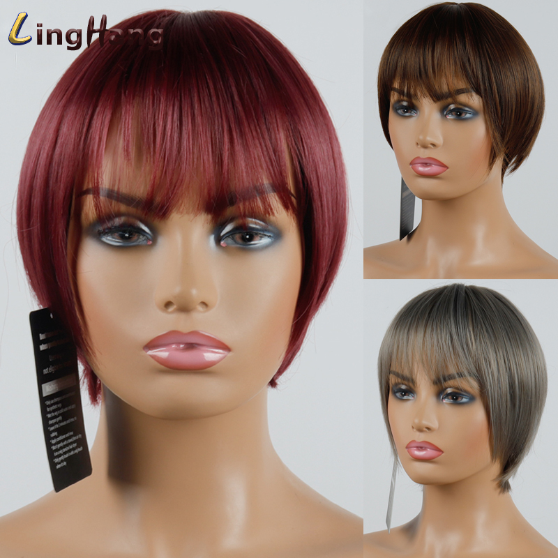 LINGHANG Short Red Gray Straight Wig Pixie Hair Cut Style Wigs For Women Synthetic Hair High Temperature Fiber