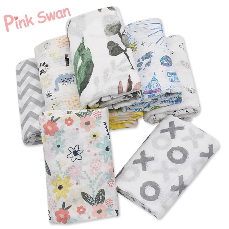 PINK SWAN Muslin 100% Cotton Baby Swaddles Soft Newborn Blankets Bath Gauze Infant Wrap Sleepsack Stroller Cover Play Mat Deken
