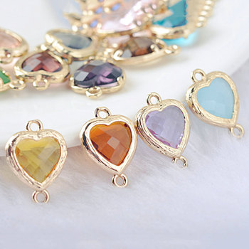 10PCS 15x10MM 16x11MM 24K Champagne Gold Color Brass and Glass 2 Holes Heart Shape Connect Charms Pendants Jewelry Accessories