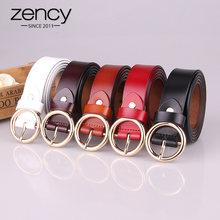 Zancy – ceinture en cuir 100% véritable pour femme, marque de luxe, haute qualité, à boucle ronde, pour jean, noir, blanc, marron
