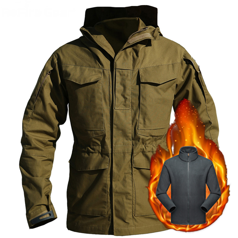 Mens Military M65 US RU Jackets Winter Fleece Warm Waterproof Windproof Jacket Army Combat Tactical Hooded Clothes Thermal Coats
