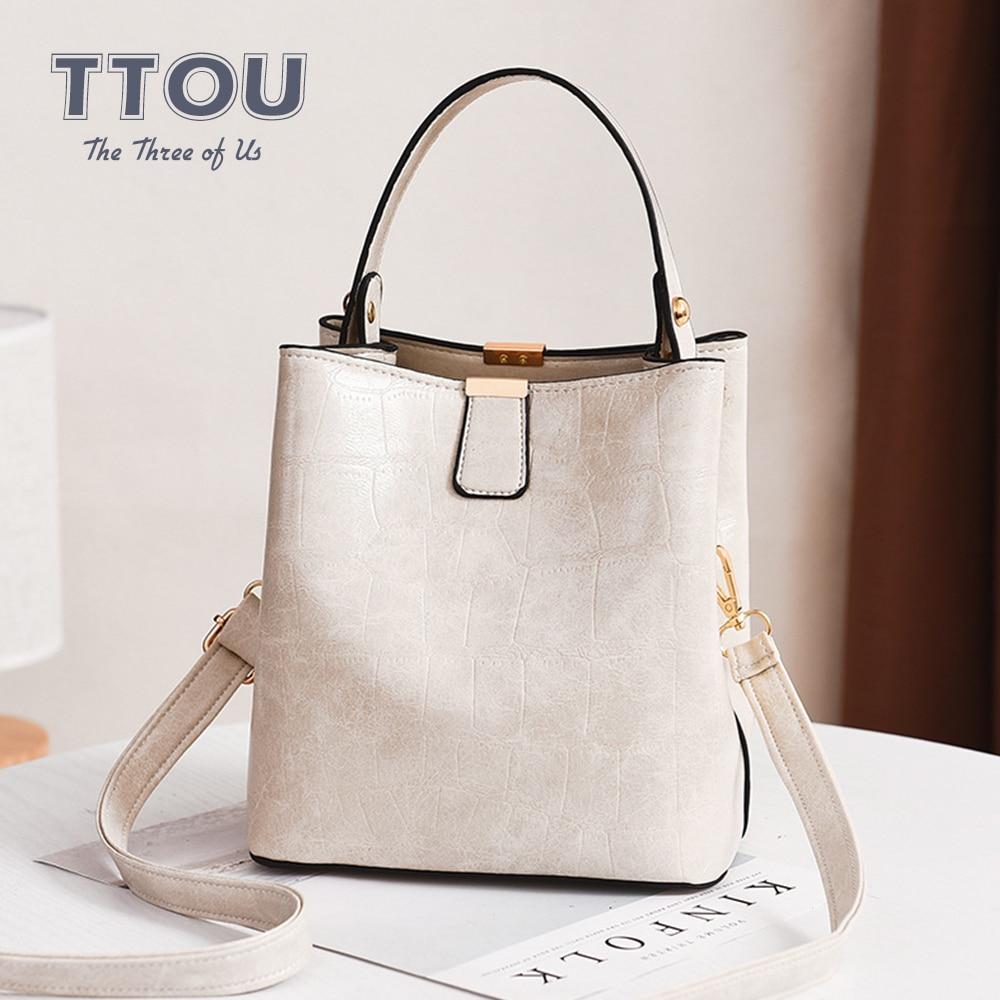 Luxury Alligator Pattern  Women Bucket Bags Solid Color Crossbody Bag For Women 2020 Shoulder Bag Female PU Leather Top-Handbags