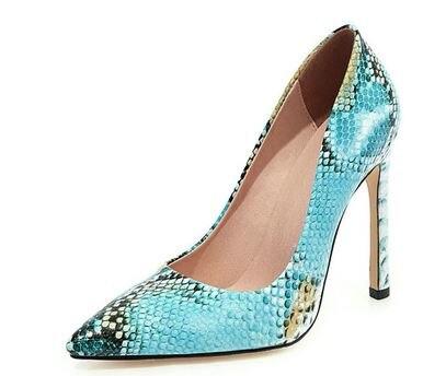 YEELOCA 2020 Fashion Shoes Women Pumps High Heels Snakeskin a001 Flock Sexy...