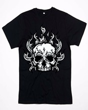 Shirt Long Choker Model Rapper Skull Flames(China)