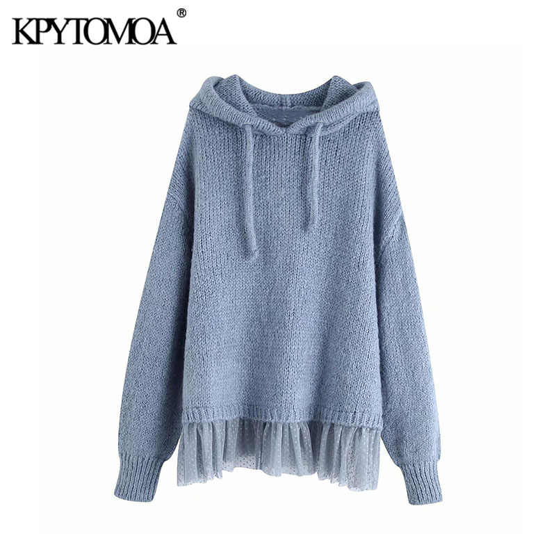 Vintage Stylish Patchwork Loose Knitted Sweatshirts Women 2020 Fashion Hooded Long Sleeve Female Pullovers Chic Tops