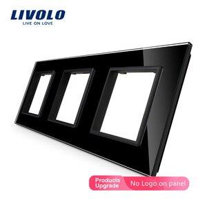 Livolo роскошное белое жемчужное Хрустальное стекло, стандарт ЕС, тройная стеклянная панель для настенного выключателя и розетки, C7-3SR-11 (4 цвет...